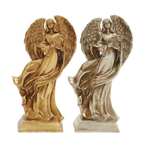 Benzara Gold & Silver Set of 2 Xmas Angel