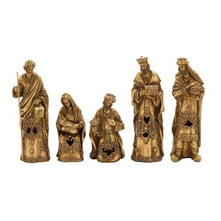 Benzara Set of 5 Nativity in Gold