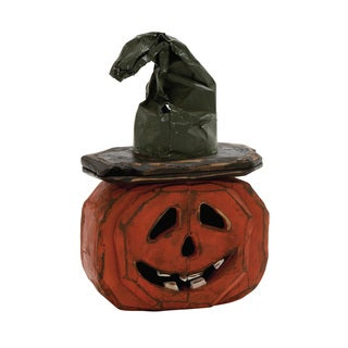 "Scary Wood Metal Pumpkin 12""w, 18"""