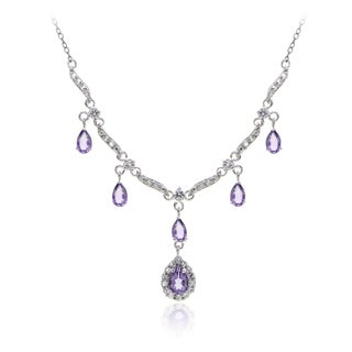 Glitzy Rocks Sterling Silver Gemstone Dangle Necklace