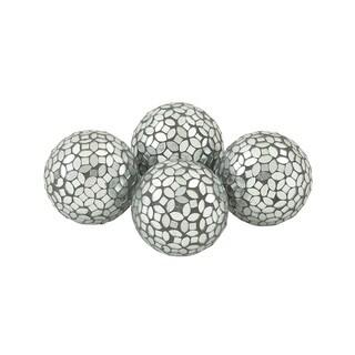 Enthralling PVC Glass Silver Mosaic ORB Set Of 4
