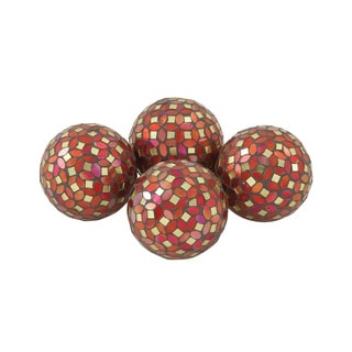 Multicolored PVC Glass Red Mosaic ORB Set of 4