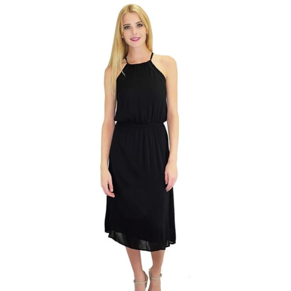 Relished Women's Black Halter Sleeveless Midi Dress