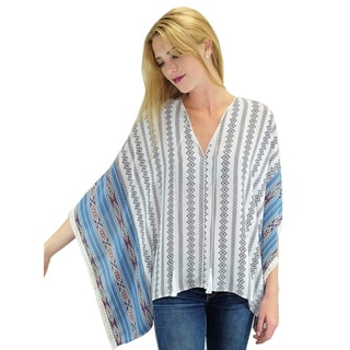 Relished Women's Blue and White Aztec Poncho