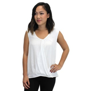 Relished Women's White Polyester and Rayon Cross Front Top