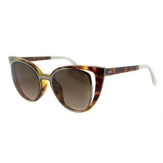 Fendi FF 0136 NY2 Havana And Ruthenium Plastic, Metal Brown Gradient Lens Sunglasses