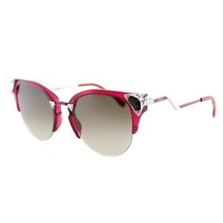 Fendi FF 0041 NHK Iridia Cherry Palladium Plastic Cat-Eye Brown Gradient Lens Sunglasses
