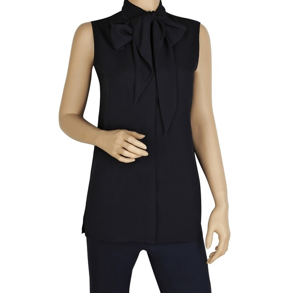 Tory Burch Women's Navy-blue Polyester Sleeveless Tie-front Blouse