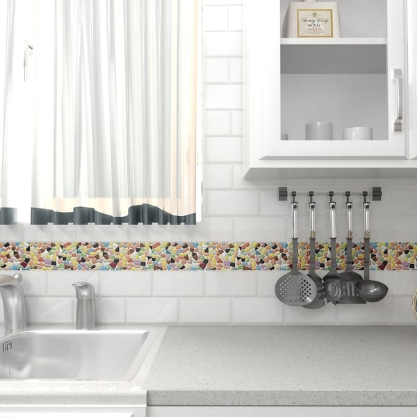 SomerTile 11.25x11.25-inch Dizzy Glossy Multi Ceramic Mosaic Floor and Wall Tile (Case of 5) 18607670