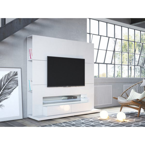 Manhattan Comfort Riverside Freestanding Theater Entertainment Center with LED Lights