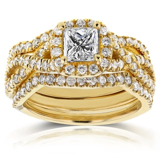 Annello 14k Yellow Gold 1 2/5ct TDW Princess Diamond Halo Crossover Bridal Rings Set (H-I, I1-I2)