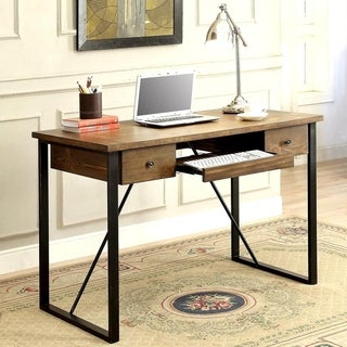 Schevron Mid Century Industrial Rustic Design Home Office Computer/ Writing Desk with Keyboard Drawer