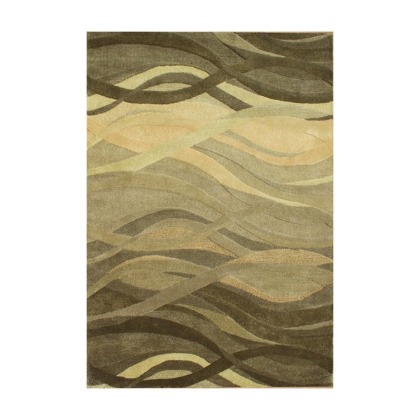 Alliyah Green Waves Olive Green Wool Hand Carved Rug 8