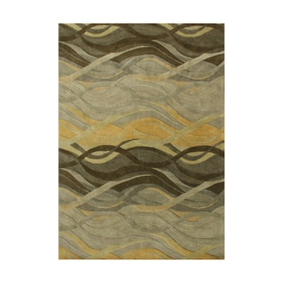 Alliyah Green Waves Olive Green Wool Hand-carved Dimensional Floor Rug (9' x 12')