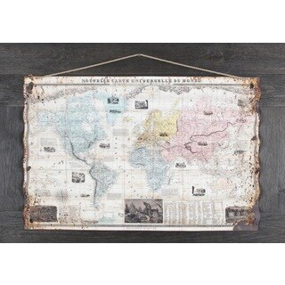 Sam O's 'World Map' 21.5X44 Framed Mixed Media Artwork