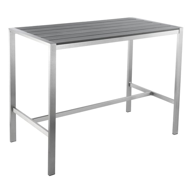 Lola Coffee Table With Storage: Cortesi Home Haven Collection Grey Outdoor Long Bar Table