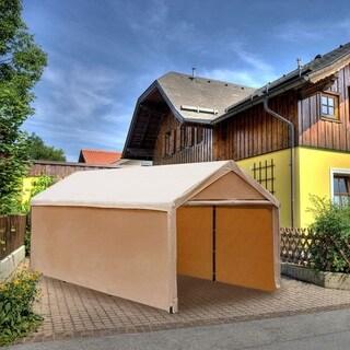 Abba Patio 10 x 20 feet, Steel-framed Enclosed Canopy Carport/Shelter, Beige