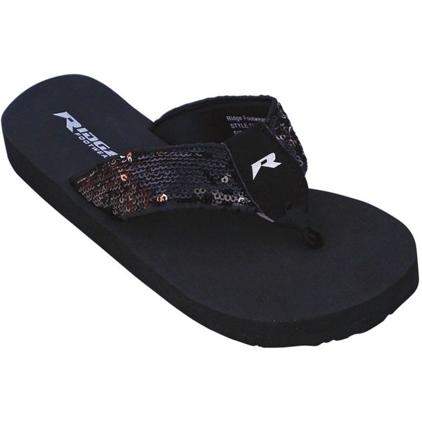 Women's Black Sequin Flip-flops