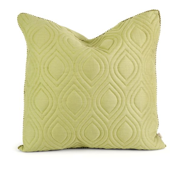 IK Kavita Green Linen Quilted Throw Pillow w/ Down Fill