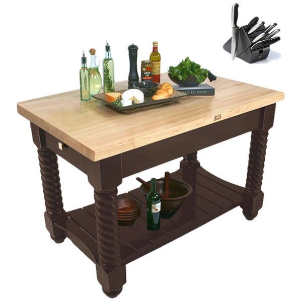 John Boos TUSI5432-FR Tuscan Isle Boos Block Table 54x32 in French Roast with bonus 13-piece Henckels Knife Set