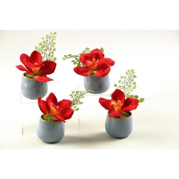 Dark Red Ceramic Set Of 4 Cymbidium Orchids 18611285