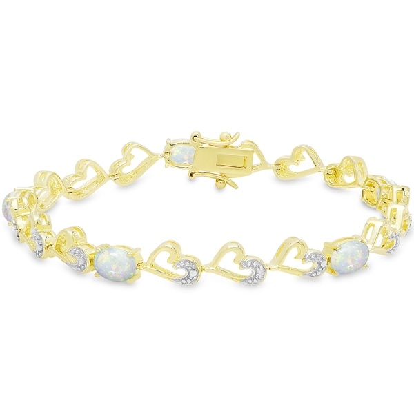 Dolce Giavonna Gold Over Silver Opal and Diamond Accent Heart Bracelet 18611403