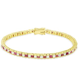 Dolce Giavonna Gold Overlay Ruby Tennis Bracelet