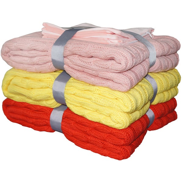 BOON EZ Match Super Eighteen Cable Knitted Throw Combo