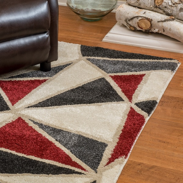 Christopher Knight Home Verna Jacqueline Snow Frieze Red/Grey Polypropylene Rug (5' x 8')