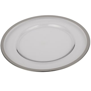 13-inch Silver Rim Glass Charger