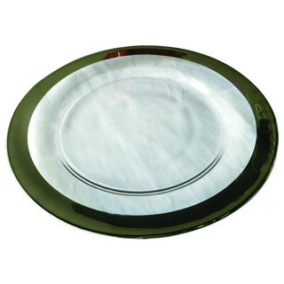 Wide Silver Banded Rim Glass 13-inch Charger