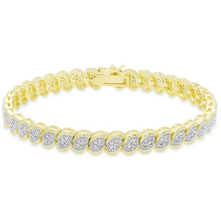 Finesque Gold Over Silver 1 Ct TDW Diamond Marquise Tennis Bracelet