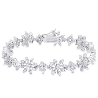 Dolce Giavonna Sterling Silver Cubic Zirconia Flower Bracelet