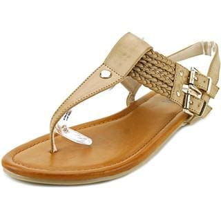 Mia Ivelise Women's Tan Low-heel T-strap Sandals