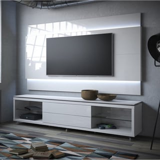 Manhattan Comfort Lincoln TV Stand with Silicon Casters and Lincoln Floating Wall TV Panel with LED Lights 2.4