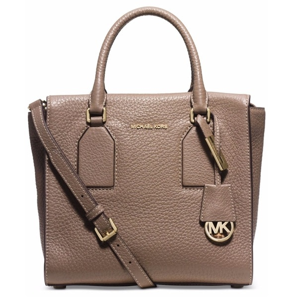 Michael Kors Selby Dark Dune Medium Leather Satchel Handbag
