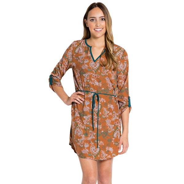 Women's Tea n Rose Tie-Waist 3/4-sleeve Tunic Dress