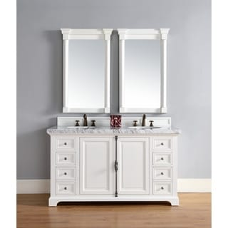Providence Cottage White Oak and Wood Veneer 60-Inch Double Vanity Cabinet