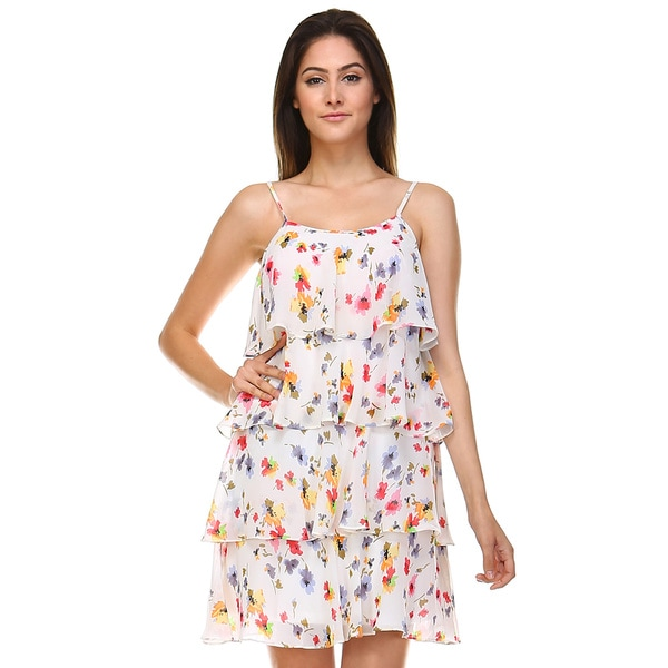 Tea n Rose Women's Ivory Polyester Floral Print Layered Shift Dress