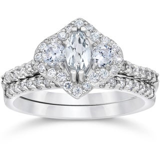 14k White Gold 1 3/4ct TDW 3-Stone Halo Clarity Enhanced Marquise Diamond Engagement Wedding Ring Set (I-J, I2-I3)