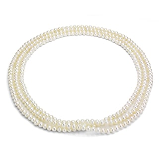 DaVonna Cultured White Freshwater Pearl Endless Necklace (6-7 mm)