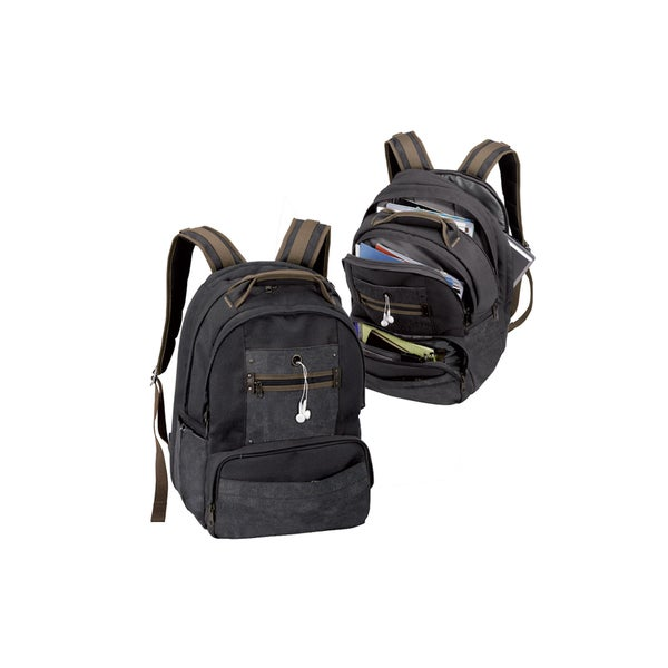 Goodhope Black Canvas Laptop Backpack