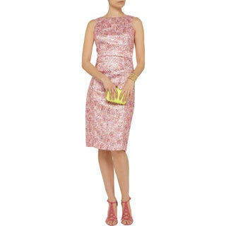 Badgley Mischka Women's Pink Acetate, Acrylic, Cotton and Polyester Metallic Dress