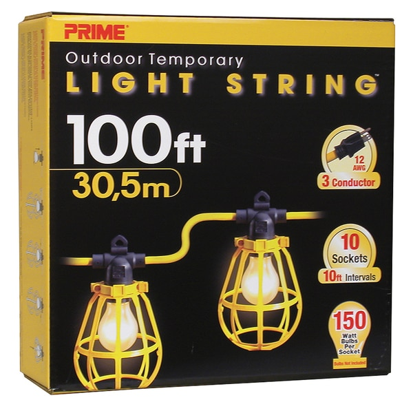 Prime LSUG2835 100' 12/3 SJTW Yellow 10-Light U-Ground Light String