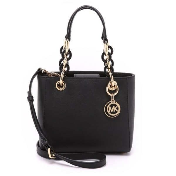 Michael Kors Cynthia Black Mini Satchel Handbag