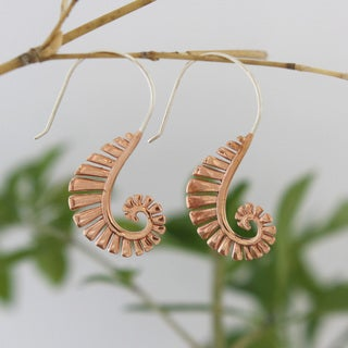 Spirit Tribal Fusion Copper Hooked Earrings (Indonesia)