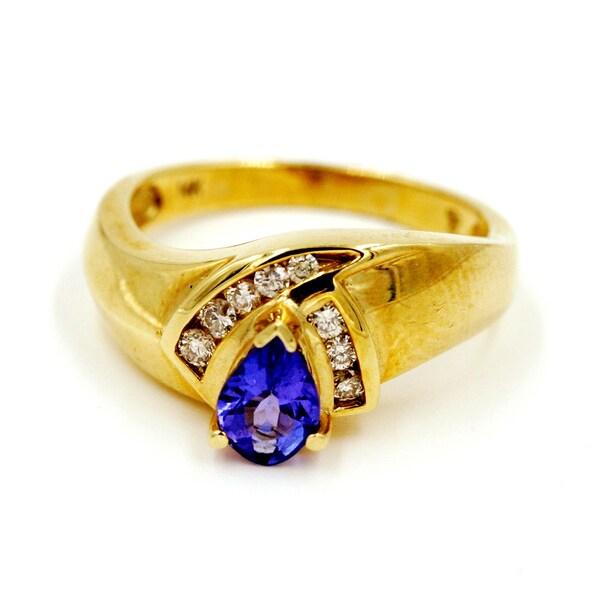 14k Yellow Gold 1/6ct TDW Tanzanite and Diamond Fashion Ring (G-H, I1)