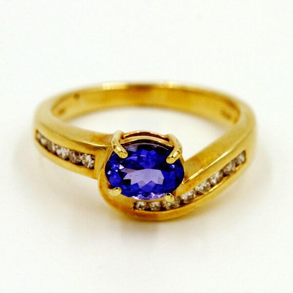 14k Yellow Gold 1/5ct TDW Tanzanite and Diamond Fashion Ring (G-H, I1)