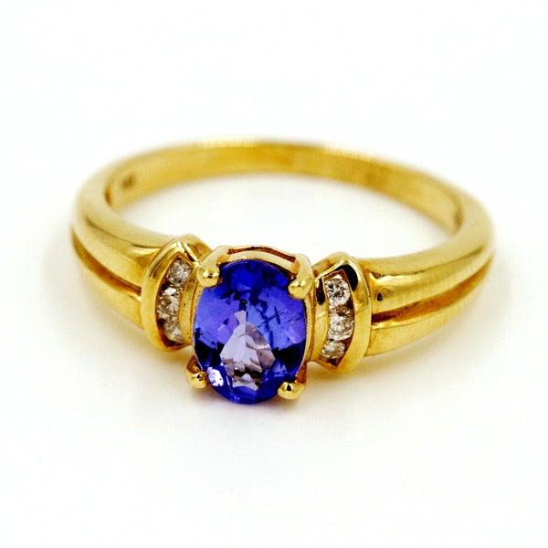 14k Yellow Gold 1/10ct TDW Tanzanite and Diamond Fashion Ring (G-H, I1)