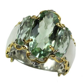 Michael Valitutti Three Stone Green Amethyst Ring